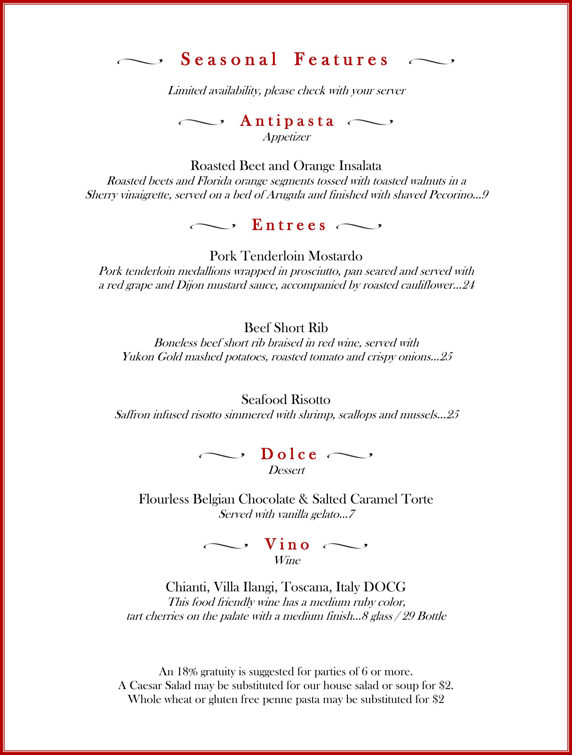 Positano's, menu, features, specials, winter, 2016